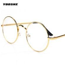 YOOSKE Retro Armações de Óculos Redondos Mulheres Homens Do Vintage  Transparentes Óculos Unissex Óculos de Metal Óptica 68d1a4ffde