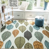 Pastoral style leaves pattern no hair easy care printed floor mat, large size Nordic style living room rug, bedside carpet