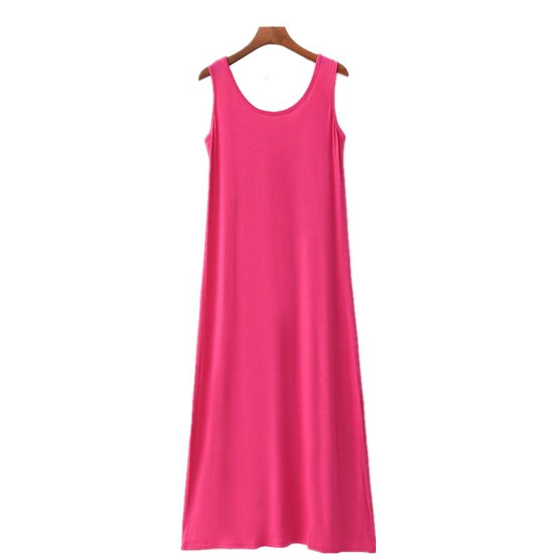 Summer Women Casual Sleepwear Long Modal Nightgown Nightie Sleeveless Loose Home Dress Sexy Lingerie Nightdress Oversize 6XL