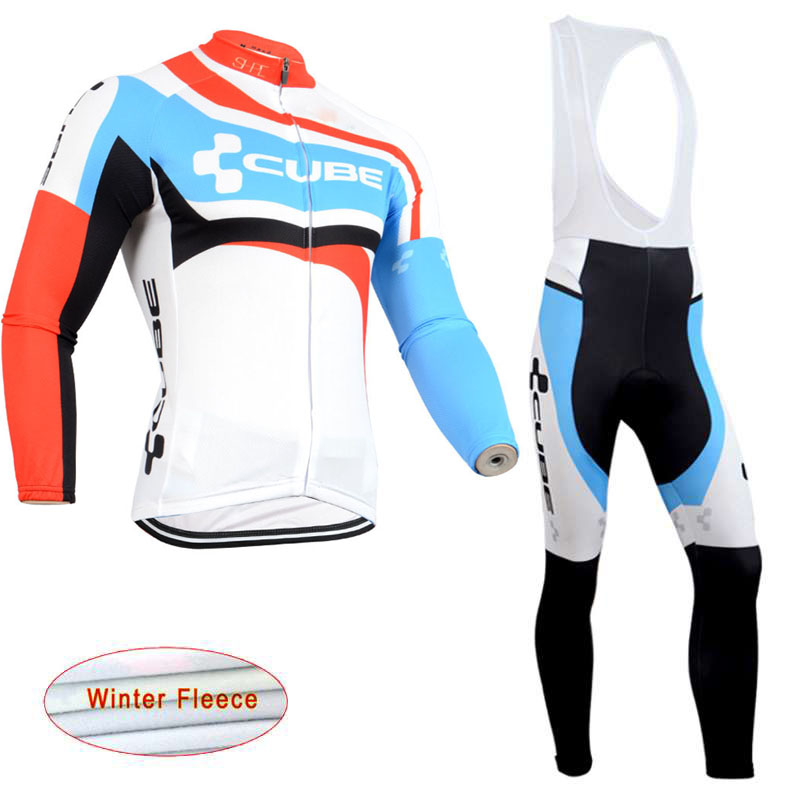 2018 men CUBE cycling clothing bicycle Winter thermal fleece cycling jersey MTB Bike bib pants Set maillot ropa ciclismo C0605 santic cycling pants road mountain bicycle bike pants men winter fleece warm bib pants long mtb trousers downhill clothing 2017