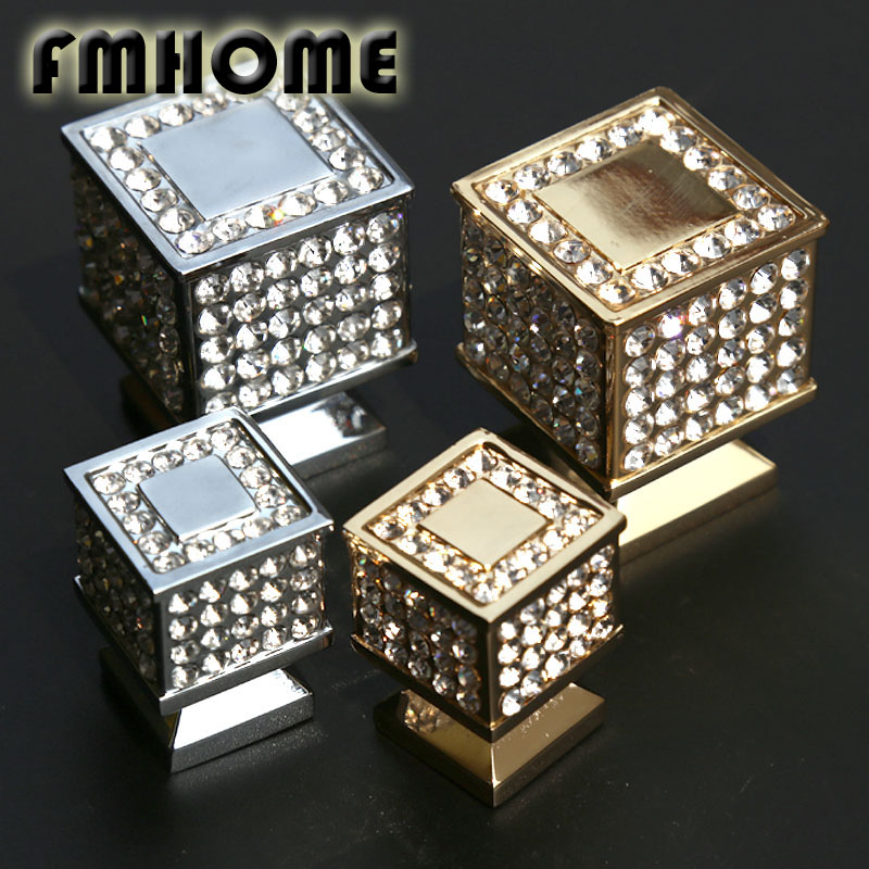 Fashion deluxe Top quality K9 crystal villa furniture decoative handles silver gold drawer tv table knobs pulls diamond square creative fashion deluxe rhinestone villadom furniture decoration handles silver golden glass crystal drawer cabinet knobs pulls