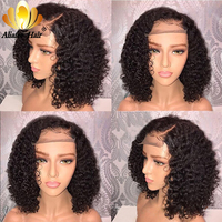 AliAfee Brazilian Jerry Curl Short Bob Lace Front Wigs 13x4 Pre Plucked Human Hair Wigs 150% Density Pixie Cut Wig Remy Hair