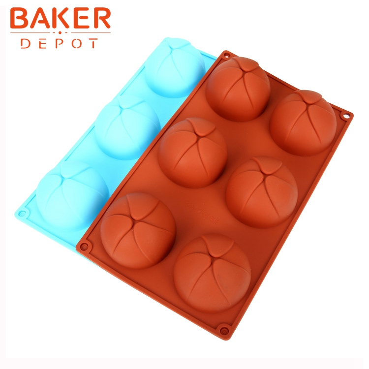 BAKER DEPOT 6 cavity round flower shape silicone mold for handmade soap jello pudding pastry Molds  mousse dessert mold