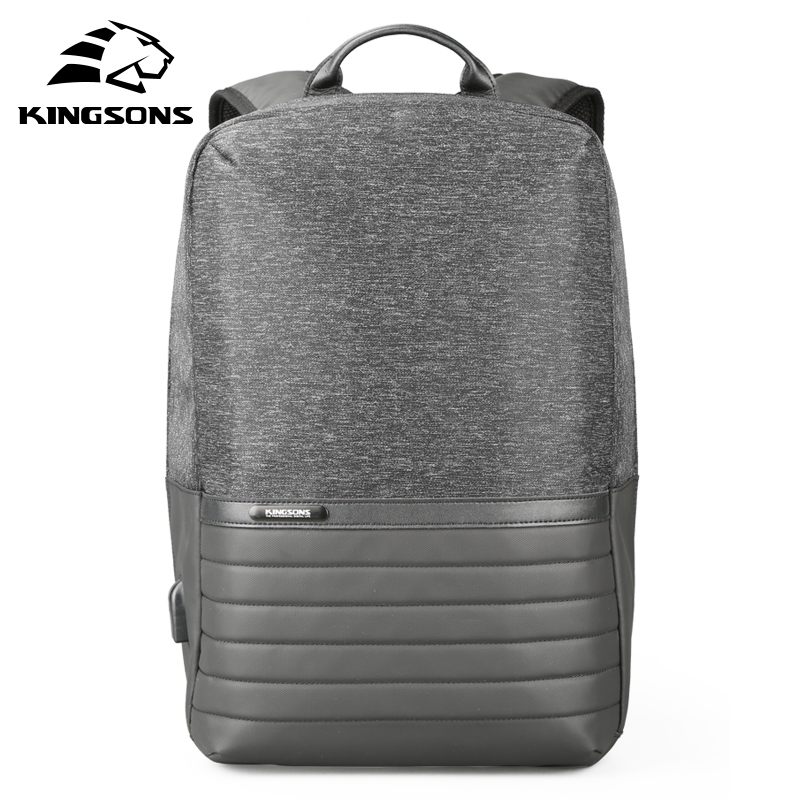 Kingsons 15 Inch Laptop Backpack USB Charging Anti Theft Backpacks Men Travel Backpack Waterproof School Bag Male Mochila