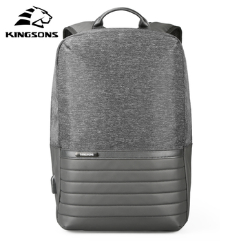 Kingsons 15 inch Laptop Backpack USB Charging Anti Theft Backpacks Men Travel Backpack Waterproof School Bag Male Mochila frn business usb charging bag men 17 inch laptop backpack waterproof high capacity mochila antitheft casual travel backpack bag