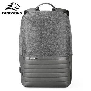 Image 1 - Kingsons 15 zoll Laptop Rucksack USB Lade Anti Theft Rucksäcke Männer Reise Rucksack Wasserdicht Schule Tasche Männlichen Mochila