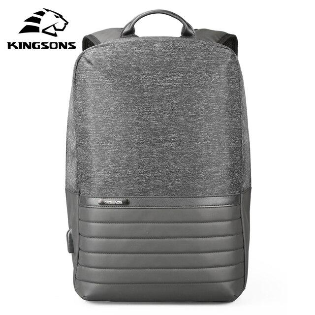 Kingsons 15 zoll Laptop Rucksack USB Lade Anti Theft Rucksäcke Männer Reise Rucksack Wasserdicht Schule Tasche Männlichen Mochila