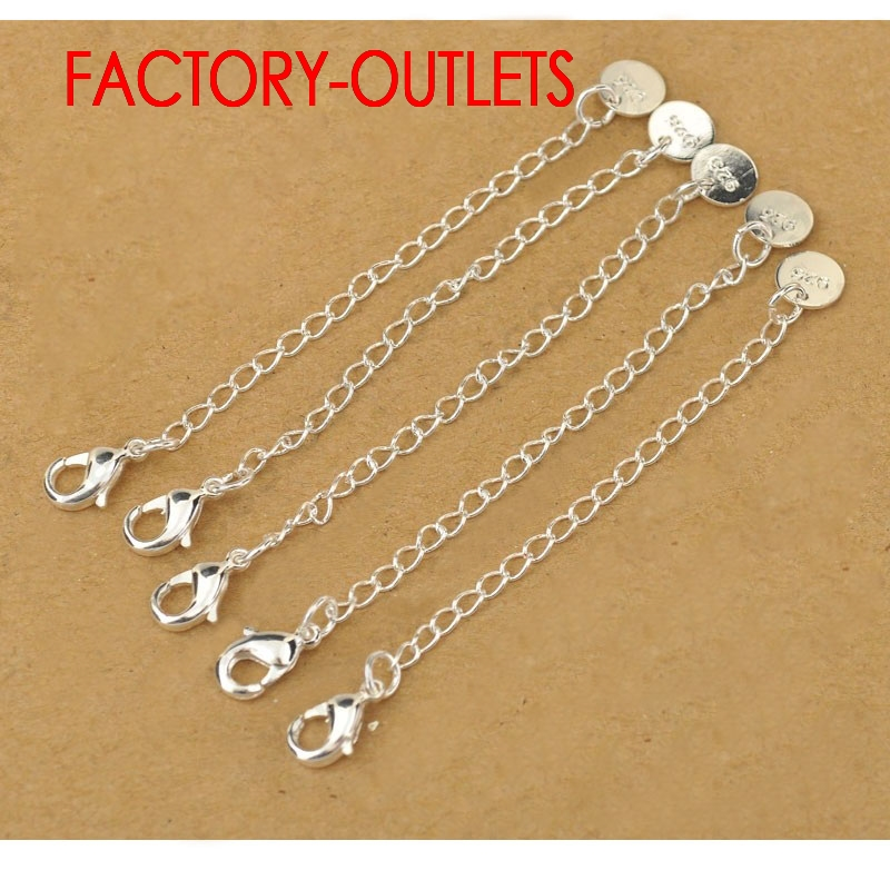 40 PCS A Lot Genuine 925 Sterling Silver Fashion Jewelry Extension Chains For Necklace/Bracelet DIY Jewelry Accessory Findings