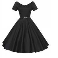 Vintage Rockabilly Tunics With Belt Tunique Femme Summer Midi Retro Dress Robe Femme Ball Gown Dress