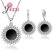 JEXXI Elegant Sun Design Pendant Luxury CZ Crystal  Jewelry Sets Female 925 Sterling Silver Necklace Earrings Set Wholesale
