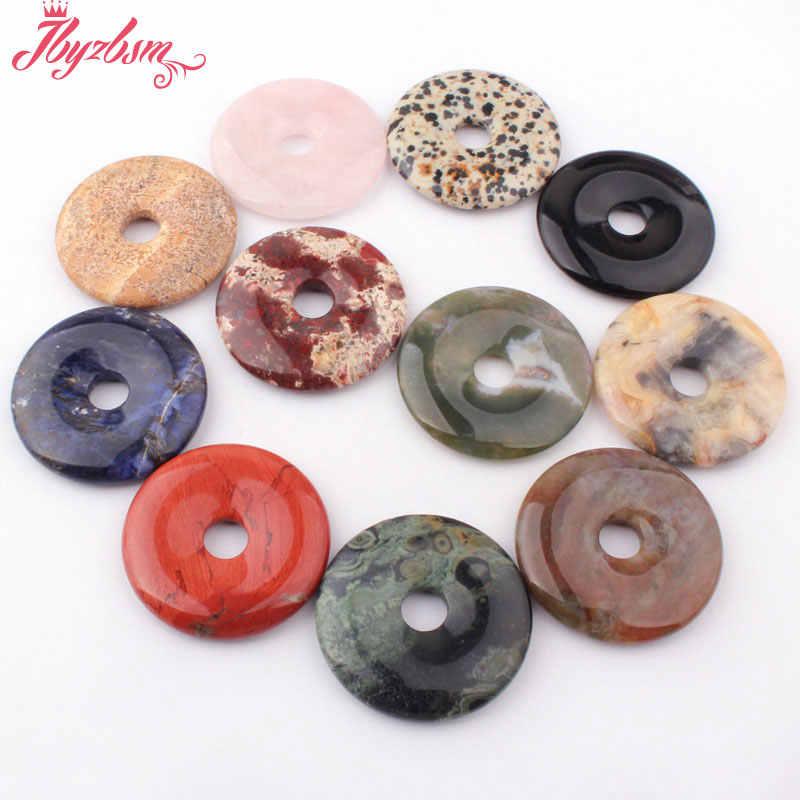40 milímetros Donut Rodada Jóia Contas de Pedra Natural Suave Spacer Pandant 1 Pcs, Para DIY Fazer Jóias Colar, frete Grátis por atacado