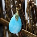 Elegante womnen teardrop pendant azul calcedonia jade belleza jasper fit para diy accesorios collar de cadena larga de la joyería B1868