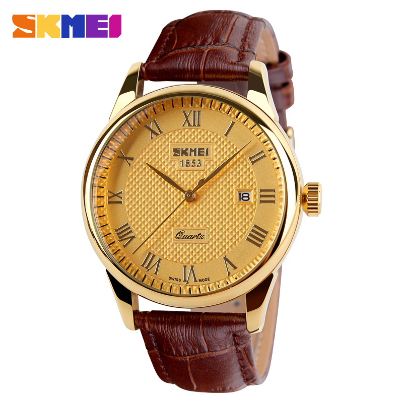 SKMEI Fashion Leather Sports Quartz Watch For Man Military Auto Date Wrist Watches Men Casual Style Montre Homme Reloj new 2016 brand skmei watches men fashion casual quartz watch man waterproof sports military leather strap wrist watches