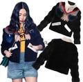 2017 Nova outono inverno estilo Europeu mulheres moda curto jaqueta gola espessamento jaqueta outwear feminino maré T820