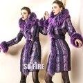 Mujeres de la Marca de La Chaqueta 2016 de Invierno Chaquetas de down abrigos y cordón de la alta calidad de piel de Mapache parka con capucha de down Outwear abrigos