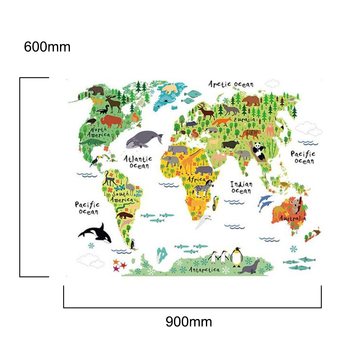 Hot sale Large Kids Educational Animal World Map Removable Art Mural Stickers vintage removable world map pattern bedroom decoration wall stickers