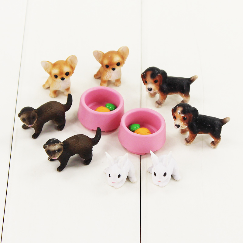 10pcs/lot Animal Pets Figure Toys Dog White Rabbit With Trough Carrots Model Toys For Playing House