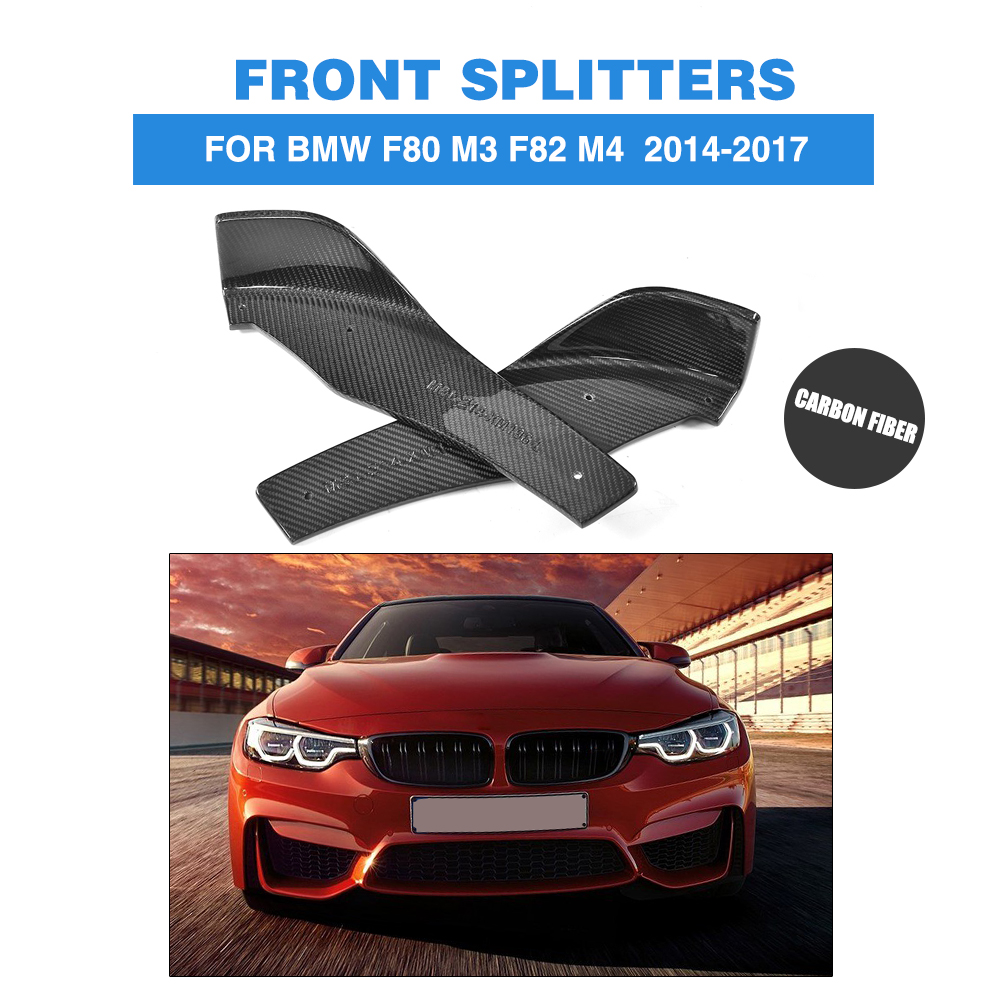 1pair carbon fiber front bumper splitters lip flaps cupwings for bmw f80 m3 f82 m4 coupe