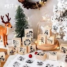 Винтаж рождественскую ночь для украшения DIY Деревянные и резиновые штампы для скрапбукинга канцелярские Скрапбукинг Стандартный штамп
