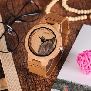 Image 3 - BOBO kuş LP20 erkekler kol saati moda bambu Quartz saat Montre Homme İskelet yusufçuk hayvanlar İzle erkekler