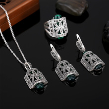 HENSEN Jewellery Fashion Design Black Rhinestone And Green Resin Pendant Necklace Set Antique Silver Plated Vintage Jewelry Sets
