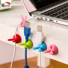 CUSHAWFAMILY 4 pcs rabbit ear silicone desktop winder cable organizer cable Home office computer headphone bobbin