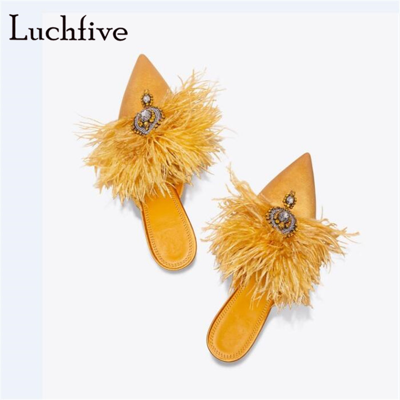 Fashion Fur rhinestone women slippers sexy pointed toe female shoes elegant thin high heels shallow slip on summer yellow pink photography backdrops 2015 new hot seal offer photo vinyl old master backgrounds computer paint 10ftx15ft foldable