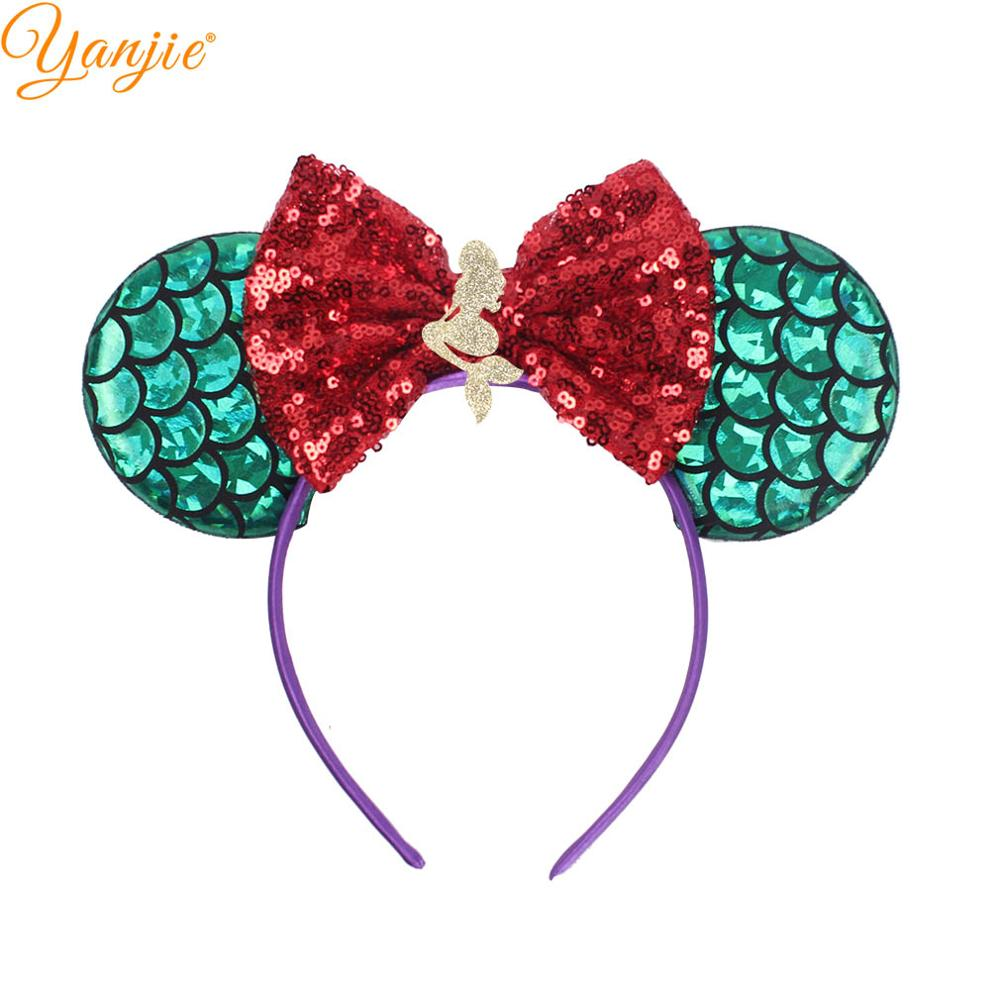 Mermaid Minnie Mouse Ear Headbands 2019 Sequin Bows Minnie Mouse DIY Hair Accessories For Kids Trendy Headwear Femme(China)