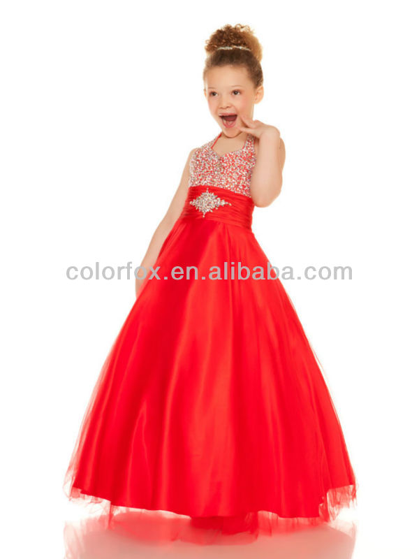 Amazing Red Beaded Halter Top Tulle Overlay Puffy Ball