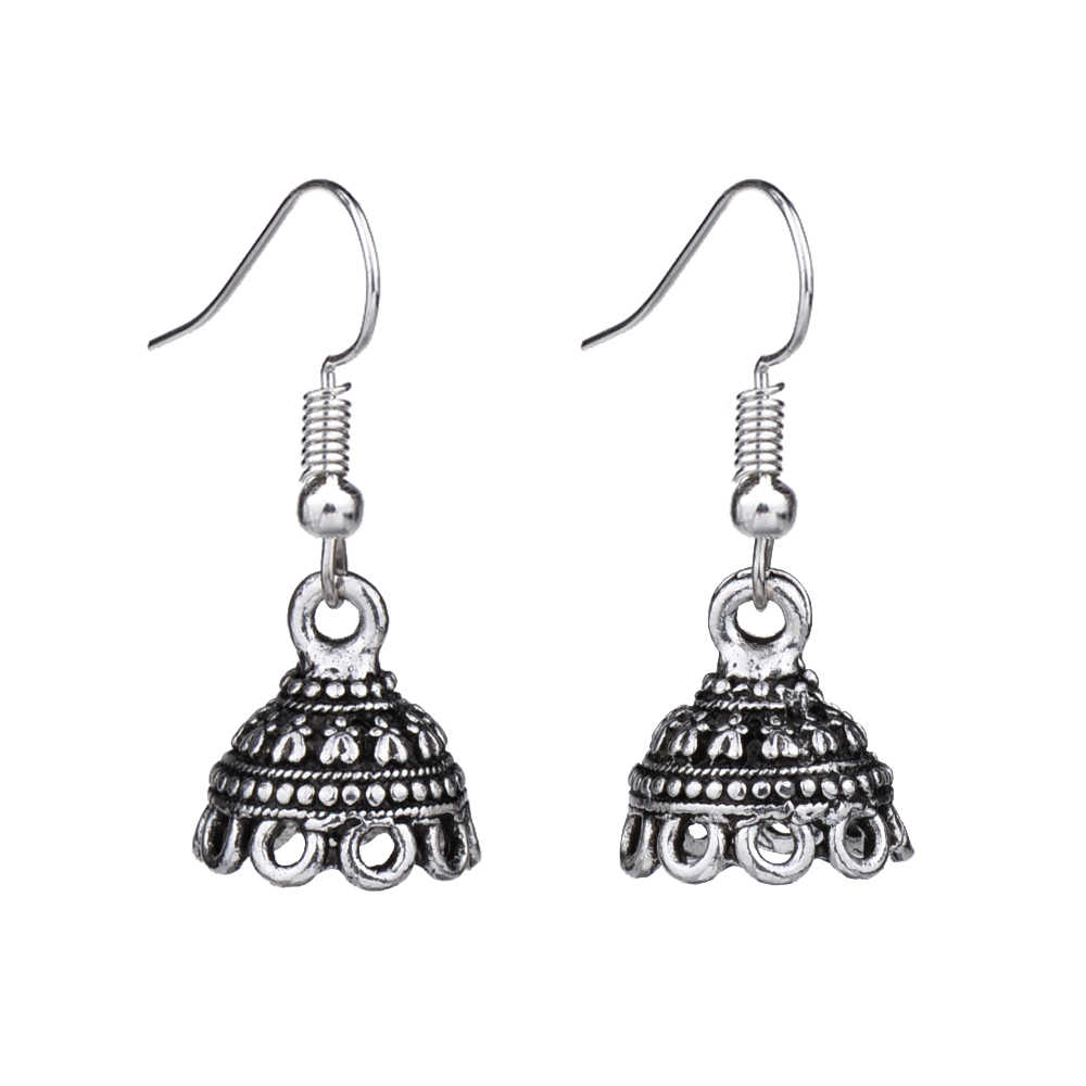 MYTHIC AGE Cute Tibetan Silver Color Hollow Out 3D Indian Ethnic Small Size Drop Earrings Jewelry Jewellery For Women