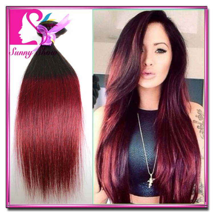 Hot Beauty Hair 3pcs Virgin Ombre Indian Straight Hair Sew In Weave Color 1b