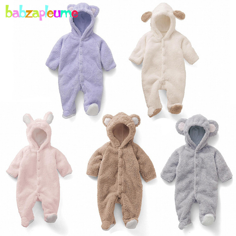 0-24Months/Autumn Winter Newborn Rompers Cartoon Cute Soft Coral Velvet Baby Clothes Unisex Clothing Boys Girls Jumpsuits BC1367 cotton baby rompers set newborn clothes baby clothing boys girls cartoon jumpsuits long sleeve overalls coveralls autumn winter