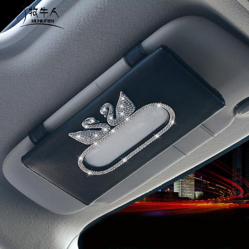 Cartoon Duck Crystal Diamond Car Tissue Box For Sun Visor PU Leather Hanging Tissue Box Holder Sunshade Case Car Accessories