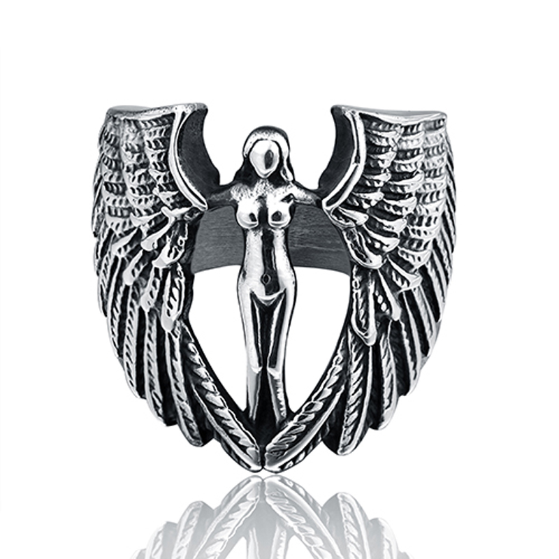 ZMZY Exquisite Vintage Angel Wings Stretch Ring Women Stainless Steel Rings for Men Biker Jewelry Antique Wholesale Dropshipping