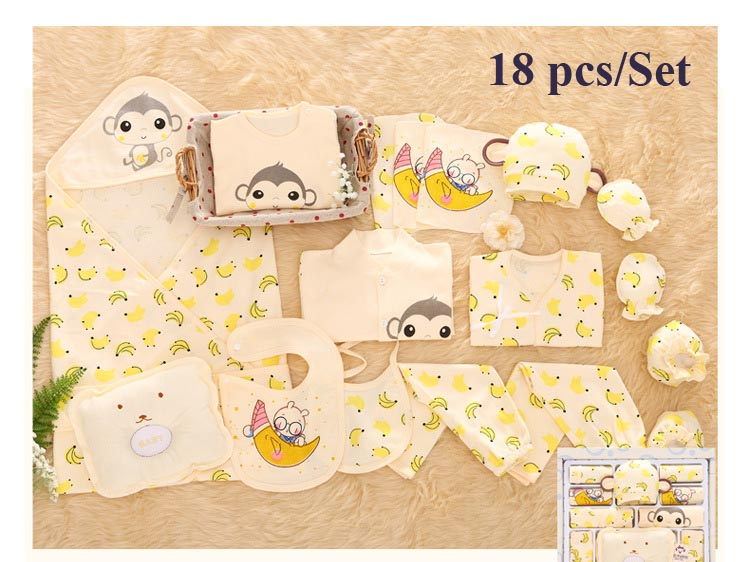 Banana Monkey Print Newborn Baby Girl Clothes Cotton Cartoon Newborn Set for Baby Boys 12 17
