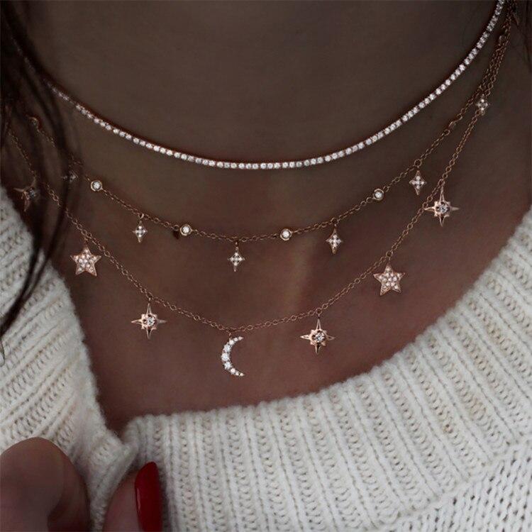 Богемное многослойное ожерелье с кулоном из кристаллов для женщин, золотые модные многослойные ожерелья и кулоны, ювелирные изделия - Окраска металла: NE-0205-25