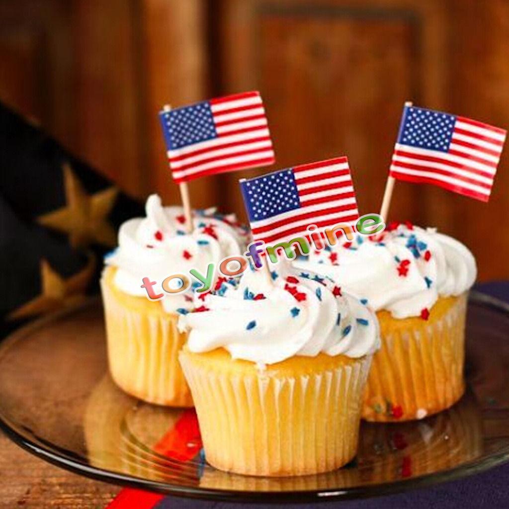50pcs Party American USA Flag Cocktail Cupcake Food Picks