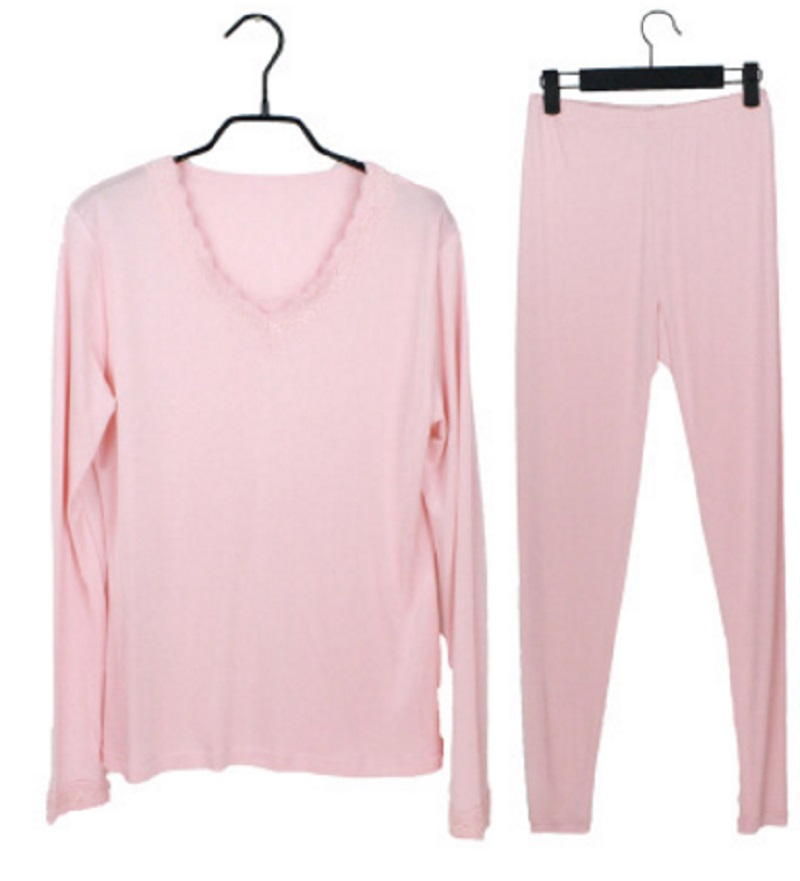 Autumn New Silk Thermal Underwear Set V Collar Lace Mulberry Silk Double Knitting Comfortable Long John
