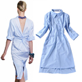 HIGH QUALITY New 2017 Runway Fashion Women's Novelty Back V Open Asymmetrical Designer Shirt Dress