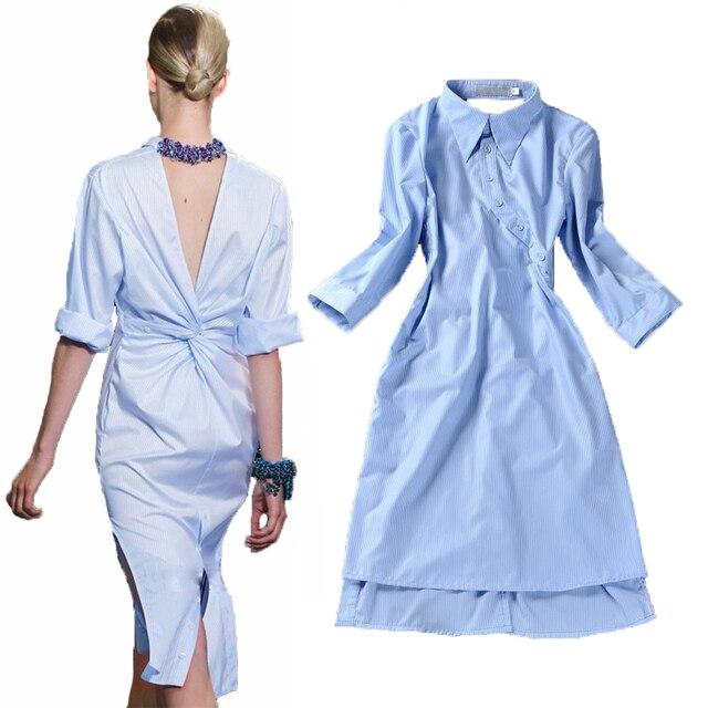 HIGH QUALITY New 2017 Runway Fashion Women's Novelty Back V Open Asymmetrical Designer Shirt Dress