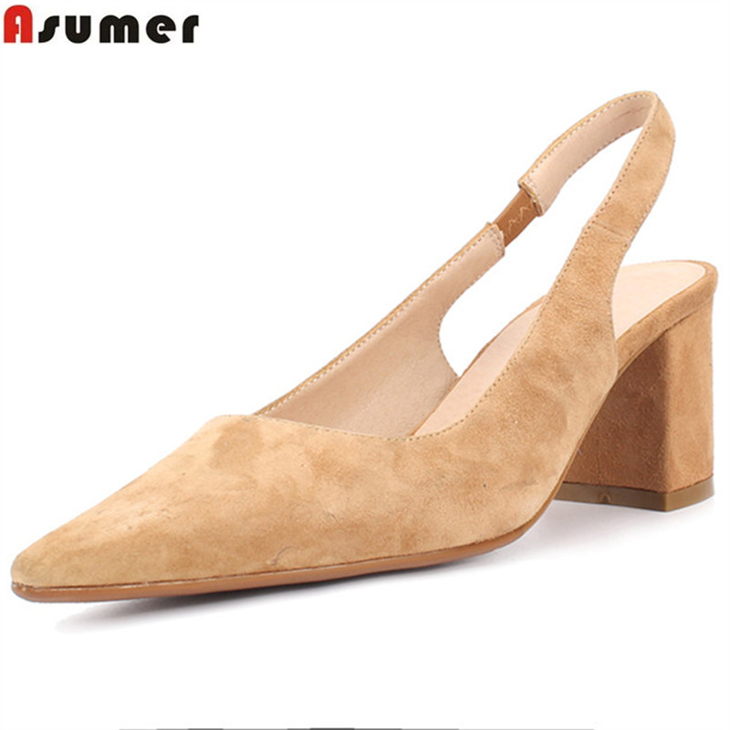 ASUMER fashion black square heel pumps women shoes pointed toe elegant prom wedding shoes woman suede leather high heels shoes smirnova fashion pointed toe spring summer shoes woman pointed toe pumps women shoes thick heel suede leather high heels shoes