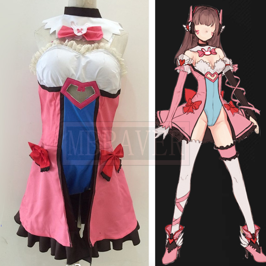 DVA Cosplay D.VA Game OW Kawaii Girl Pink Dress Costume Magic Girl D.va Cosplay Dva Costume Women Custom Made Any Size ow amelie lacroix widowmaker cosplay costume custom made any size