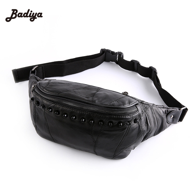 Genuine Rivet Leather Waist Packs Casual Men Travel Fanny Pack Over Shoulder Bags European Style Shoulder Bag