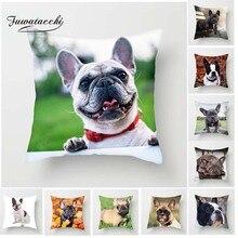 Fuwatacchi Cute Poppy Cushion Cover for Sofa Home Decor Animal Dog Photo Pillow Cover French Bulldog Decorative Pillowcase New цены