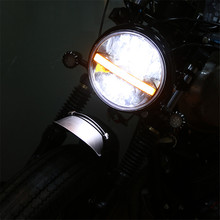 цены New Car LED 7 Inch Round Headlight DRL Turn Signal Halo Headlights For Motorcycle Projector