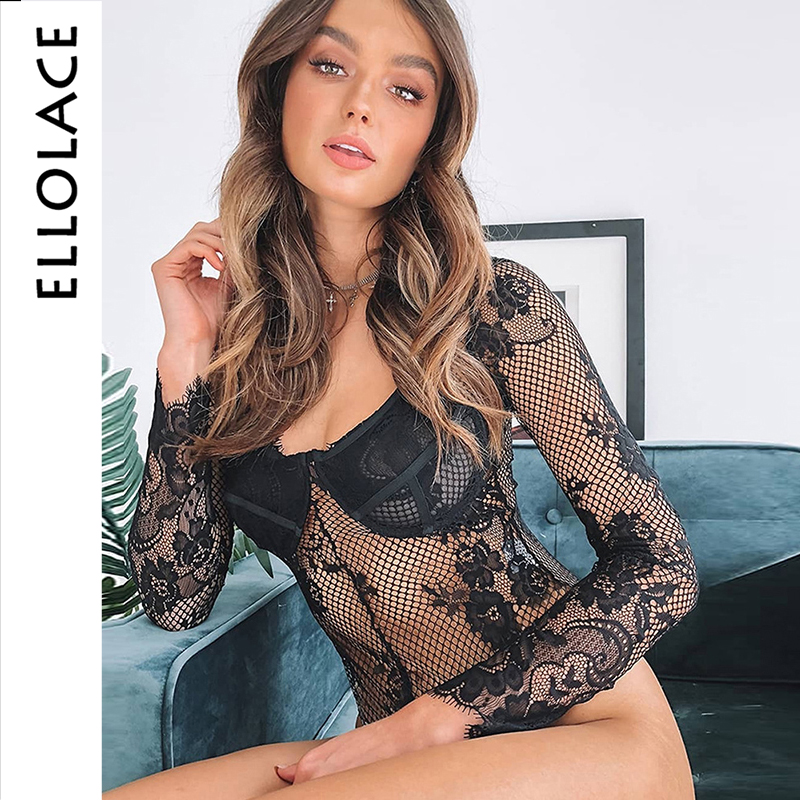 Ellolace Long Sleeve Lace Body For Women Sexy Bodysuit Women Transparent Female Bodycon Hollow Out Summer 2019 Overslls Rompers