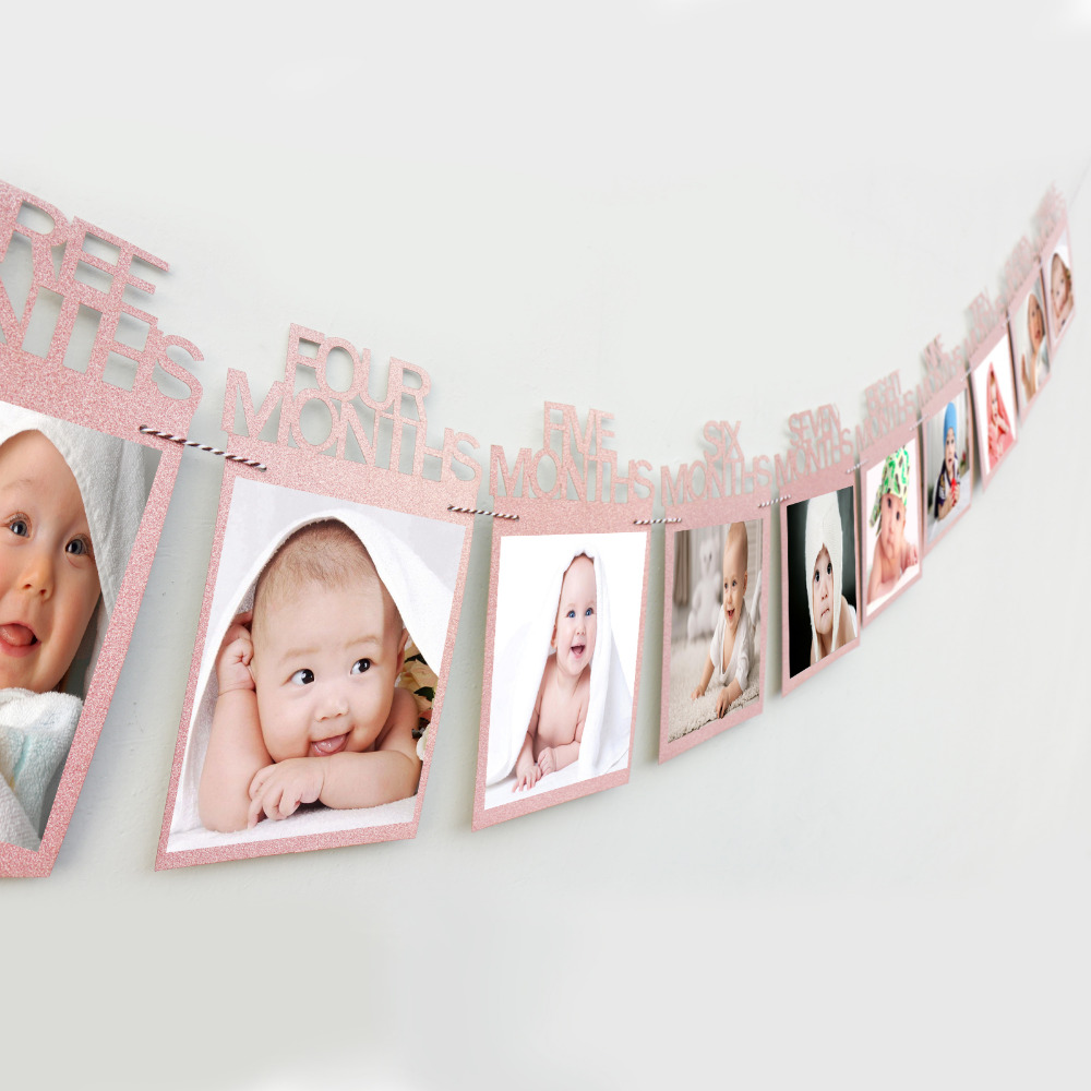 1set Birthday Baby's Photo Frame Shower 1-12 Months Made of Kraft Paper and Burlap Holder Kids Birthday Gift Room Decorations