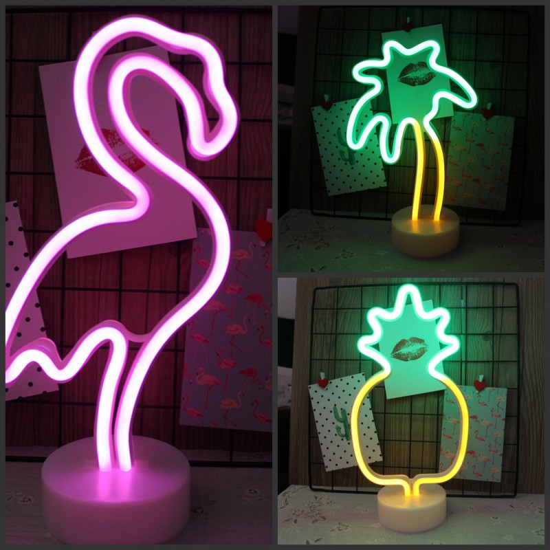 Flamingo / Cactus / Pineapple LED Neon Night Light Base Battery USB Powered Table Lamp Holiday Party Children's Room Decoration