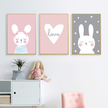 Cartoon Canvas Poster Animals Wall Art Kids Rabbit Nordic Posters and Prints Pictures for Rooms Unframed