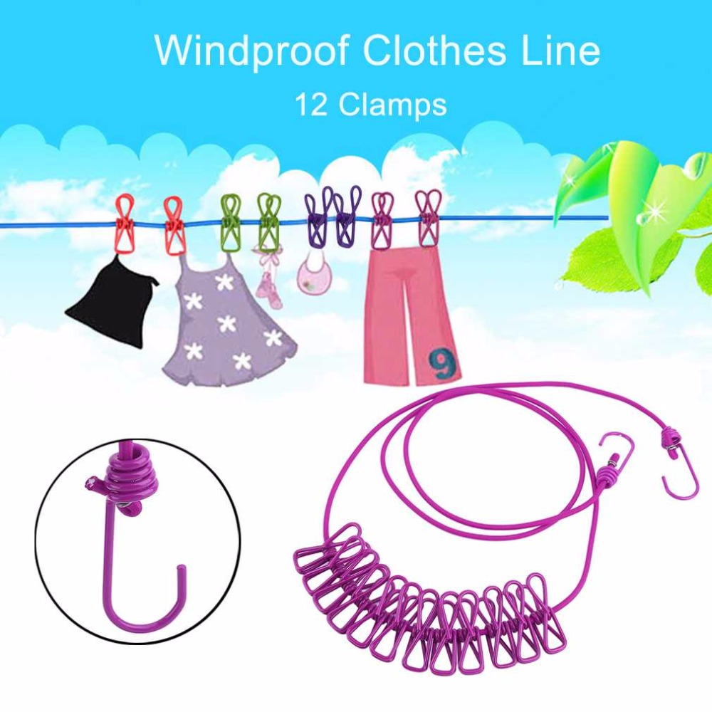 6 Colors Portable Outdoor Travel Windproof Clothes Line
